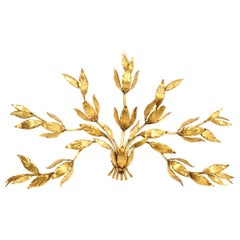 "Large 1960s Gilded Floral Leaf Metal Wall Lamp ""Bouquet"" Gold Hollywood Regency"