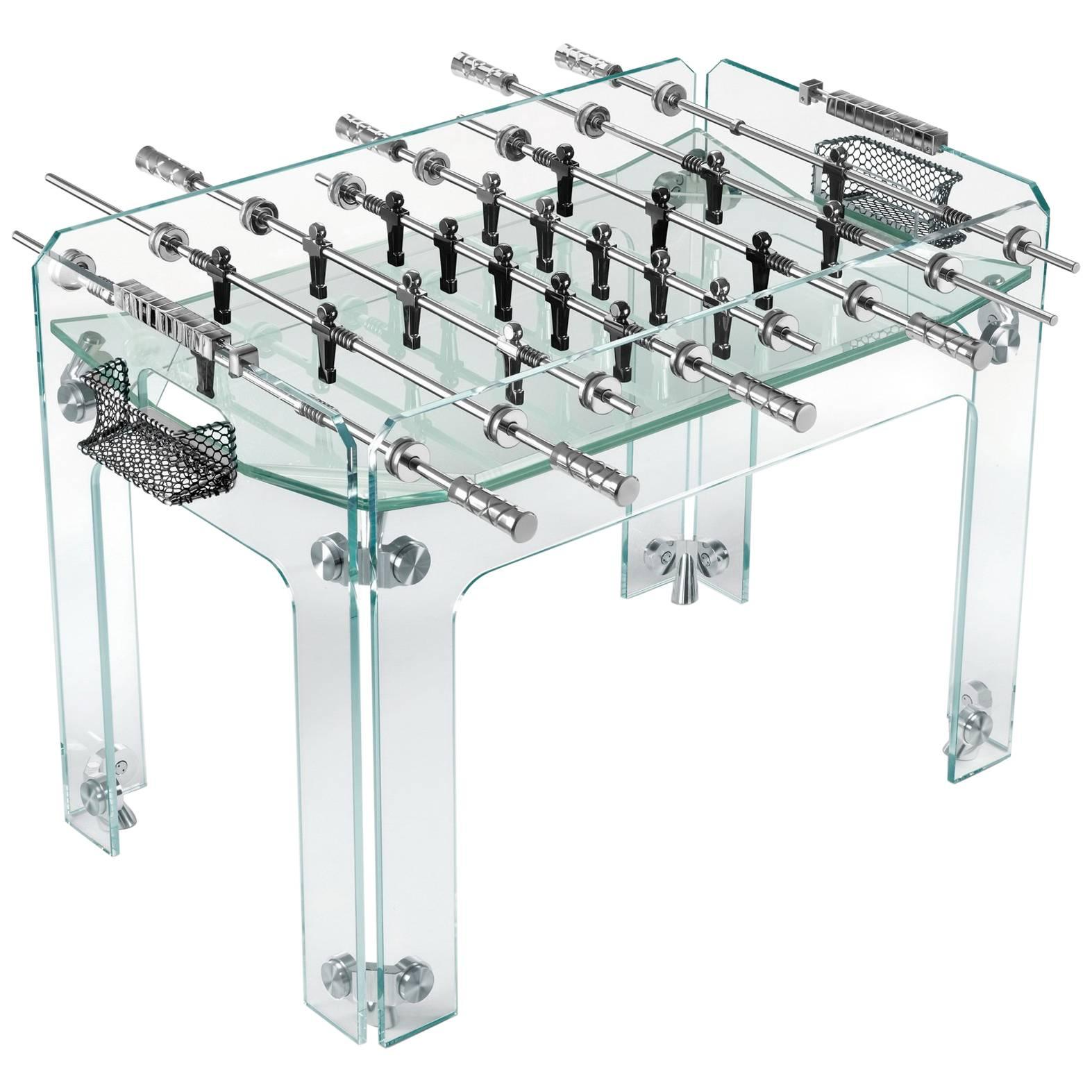 """Cristallino"" Crystal Foosball Transparent Table by Adriano Design for Teckell"