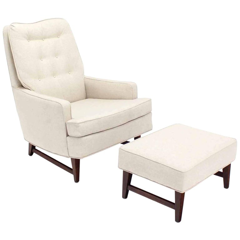Midcentury Lounge Chair with Ottoman on Walnut Base New Upholstery