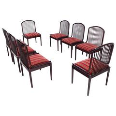Set of Eight Spindle Back Lacqured Mid Century Modern Dining Chairs by Stendig