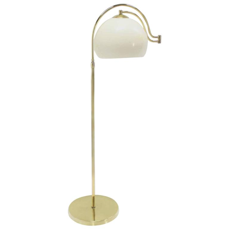 Fully Adjustable Mid Century Modern Brass Base Floor Lamp Globe Shade For Sale