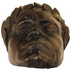 Painted Plaster Death Mask of Beethoven, 19th-20th Century