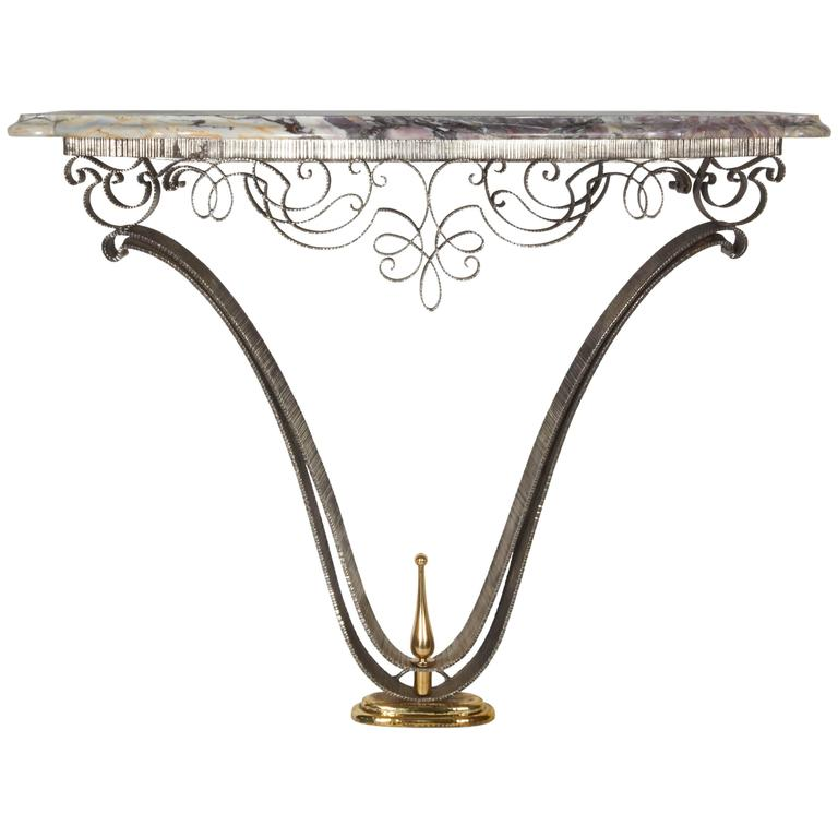 Fine French Art Deco Iron and Brass Console with Marble Top Poillerat