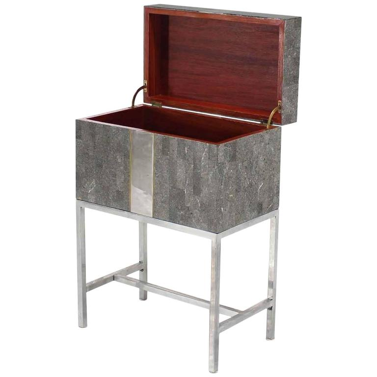 Mid Century Modern Tessellated Stone Chest Small Trunk on Base by Maitland Smith