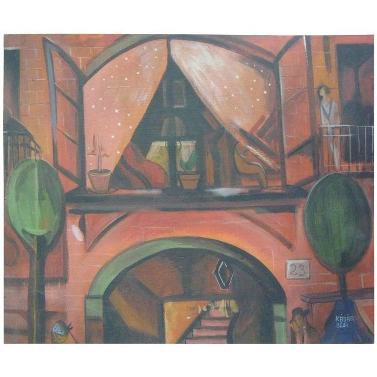 Painting, Oil, 'Street Scene' Signed Bela Kadar