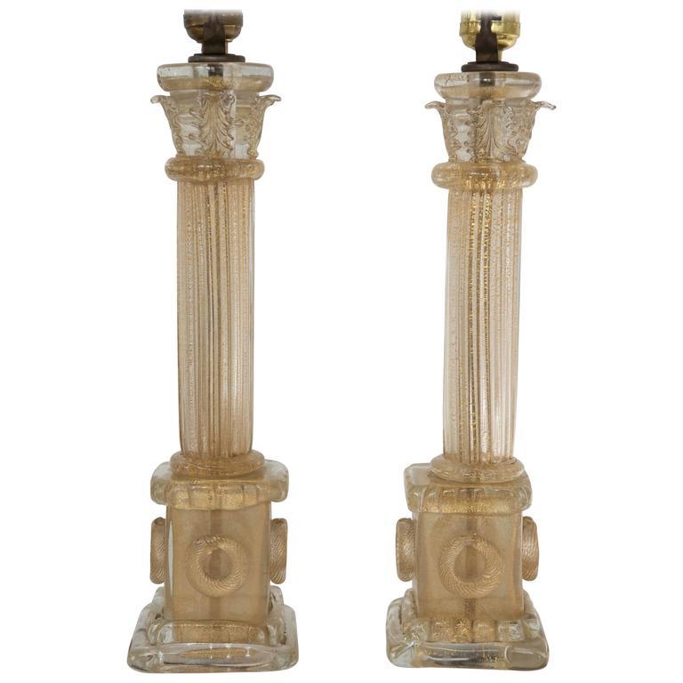 Ercole Barovier Pair of Corinthian Column Lamp Bases