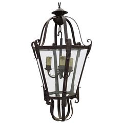 Large French Mid-Century Wrought Iron Lantern / Pendant / Chandelier, 1940