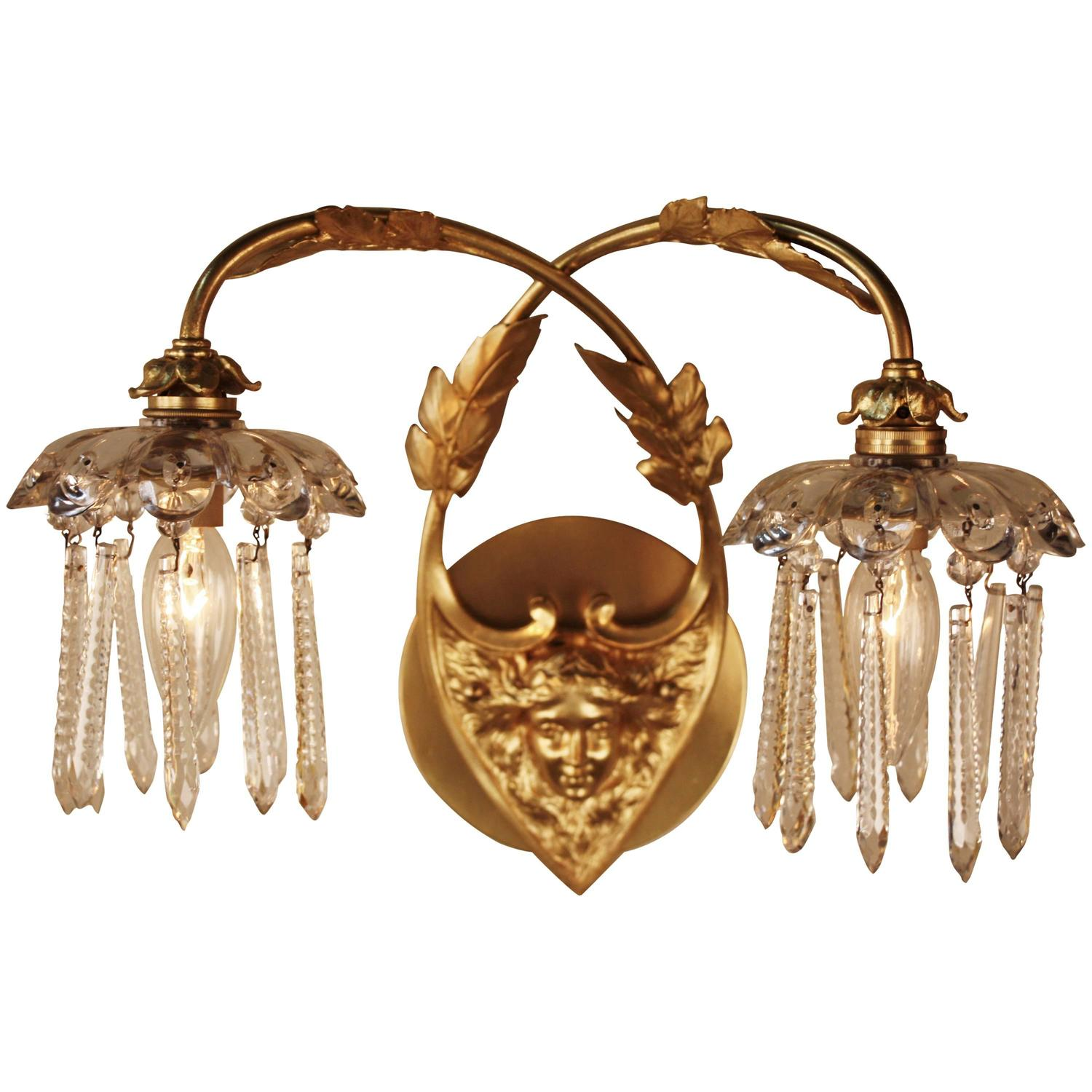 Pair of Art Nouveau Bronze and Crystal Wall Sconces by Greiner For Sale at 1stdibs