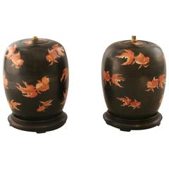 Pair of Chinese Coi Decorated Ginger Jars Now as Lamps