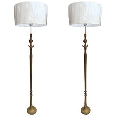 Pair of Sculptural Bronze Floor Lamp after Giacometti