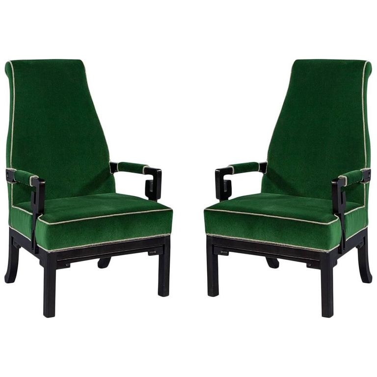 pair of greek key green velvet accent chairs for sale at 1stdibs. Black Bedroom Furniture Sets. Home Design Ideas