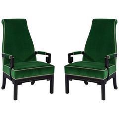 Pair of Greek Key Green Velvet Accent Chairs