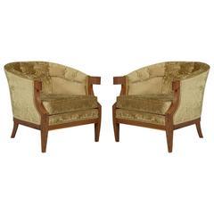 Pair of Vintage Walnut Barrel Back Club Chairs