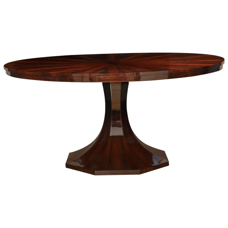 Art Deco Round Pedestal Dining Table In Black Forest Walnut Circa 1938