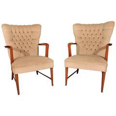 Pair of Mahogany Armchairs by Paolo Buffa