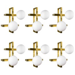 Glustin Luminaires Creation Rectangular Wall Sconces with Globes