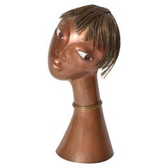 Franz Hagenauer Hand-Hammered Copper Bust with Enameled Eyes