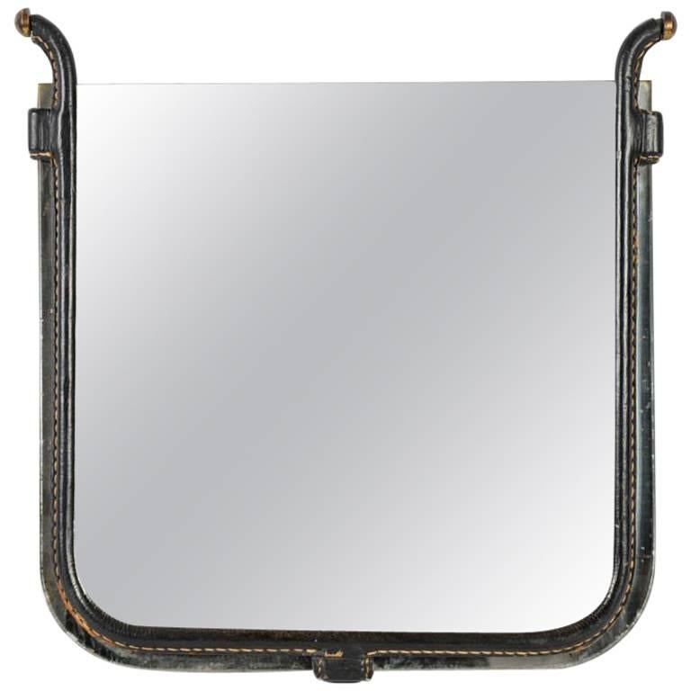 Rare Small Mirror Designed by Jacques Adnet