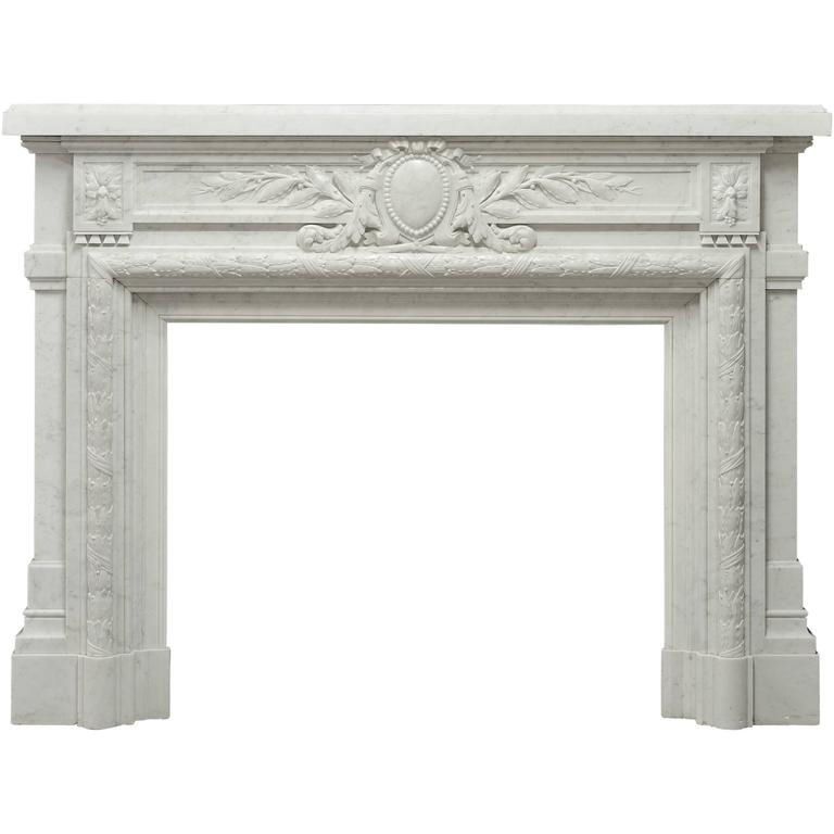 - Monumental - Antique French Louis XVI Fireplace Mantel in Carrara White Marble For Sale