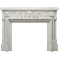 - Monumental - Antique French Louis XVI Fireplace Mantel in Carrara White Marble