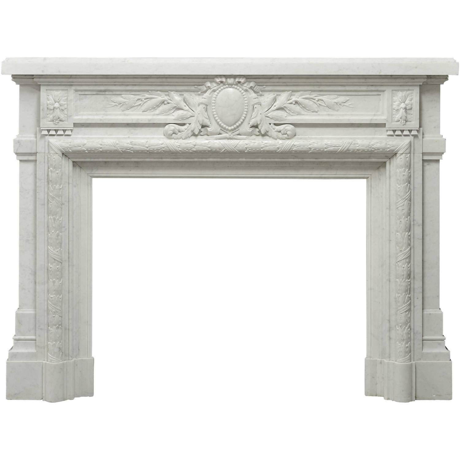 Antique fireplace mantels for sale - Antique French Louis Xvi Fireplace Mantel In Carrara White Marble