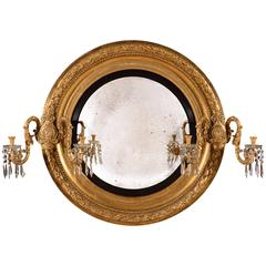 Large and Grand Regency Period Giltwood and Gesso Carved Convex Mirror