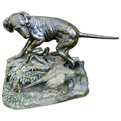 Bronze Re-Cast of Pointer Dog and Pheasant Sculpture after Jules Moigniez