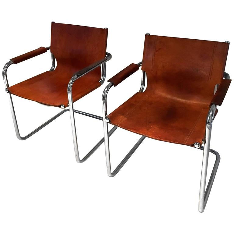 Top Pair of Mart Stam-Style Cantilevered Leather and Chrome Chairs at  NJ77