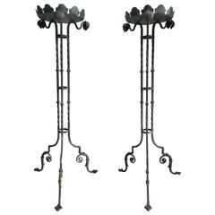 Pair of Tall French 19th Century Wrought Iron Stands