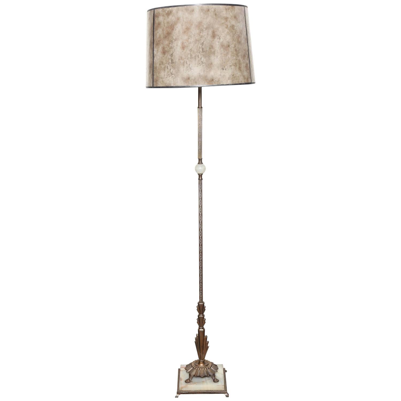 stately art deco floor lamp at 1stdibs. Black Bedroom Furniture Sets. Home Design Ideas