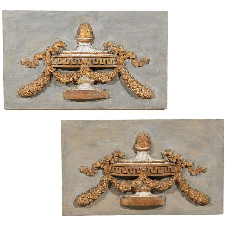 A Pair of Italian 19th Century Painted Wood Wall Decorations with Carved Urns