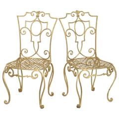 Pair of French Gilt Metal Chairs by Jean-Charles Moreux