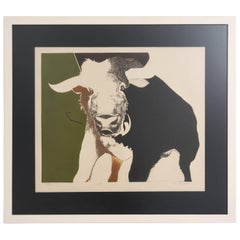 """Lithograph by RW Downs, Edition 5/30, """"Bull"""", American, 1970s"""
