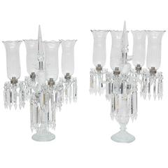 Pair of Baccarat Style, French Regency Cut-Crystal Girandoles