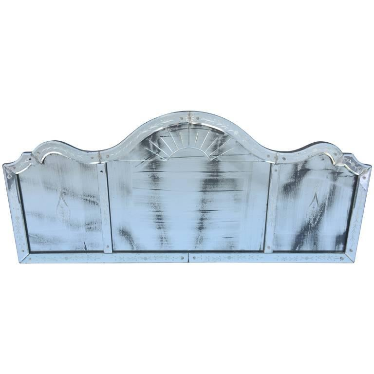 Etched Venetian Glass Overmantel Mirror For Sale