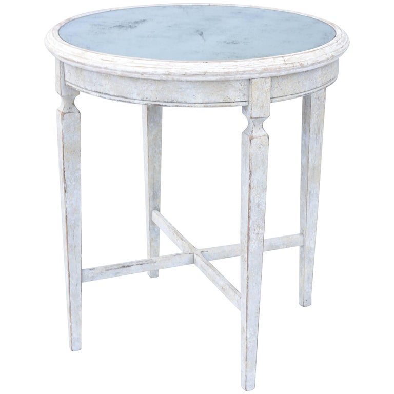Painted Occasional Table with Mirrored Top For Sale