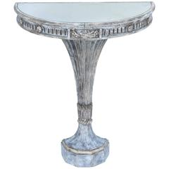 Demilune Console with Mirrored Top on Hourglass-Form Painted Base