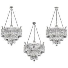 Set of Three Victorian Waterfall Chandeliers by F&C Osler
