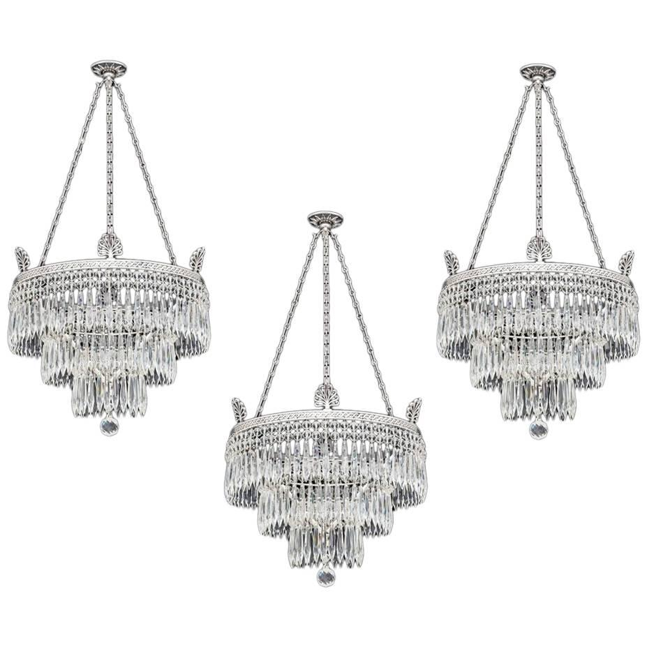 Set Of Three Victorian Waterfall Chandeliers By Fu0026amp ... Good Ideas