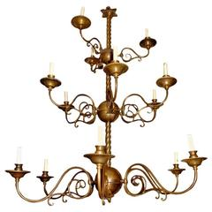 Italian Bronze Three-Tier Chandelier