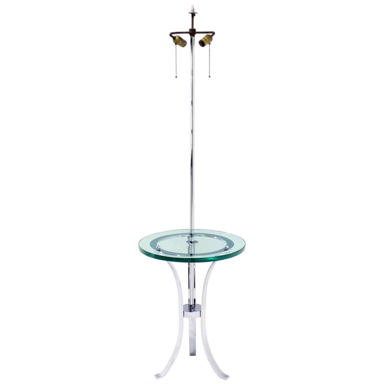 Modern Chrome Floor Lamp Round thick Glass Side Table