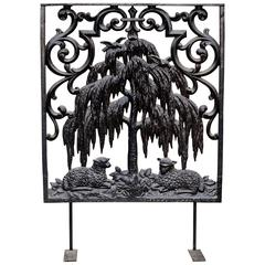 19th Century Cast Iron Figural Gate Panel