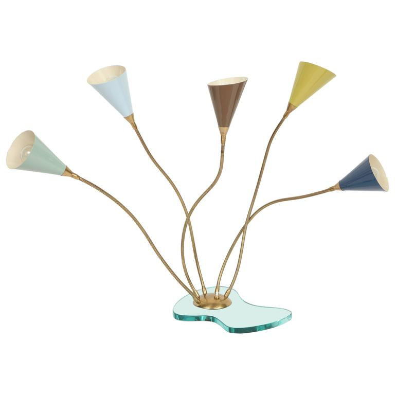 Stilnovo Table Lamp, Enameled Metal Shades on Glass Base, circa 1960s For Sale