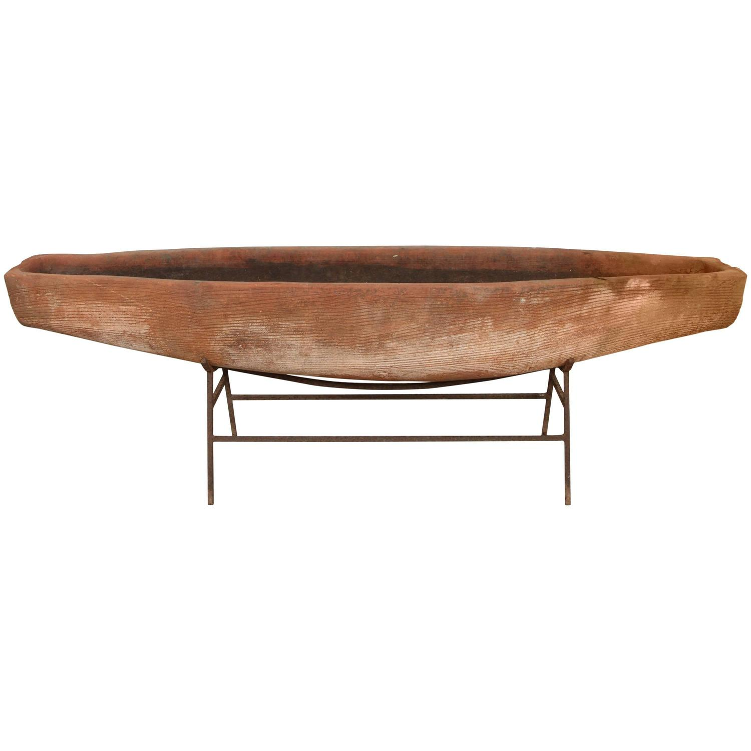Mid Century Bisque Canoe Planter At 1stdibs