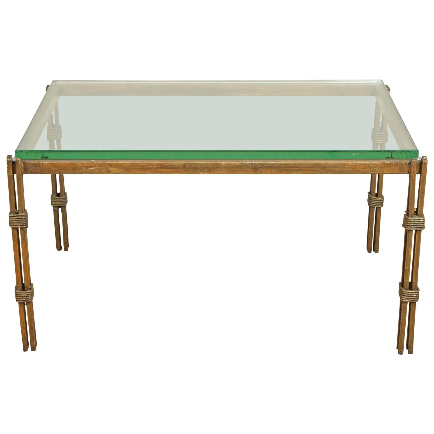 vintage wrought iron and glass table at 1stdibs. Black Bedroom Furniture Sets. Home Design Ideas