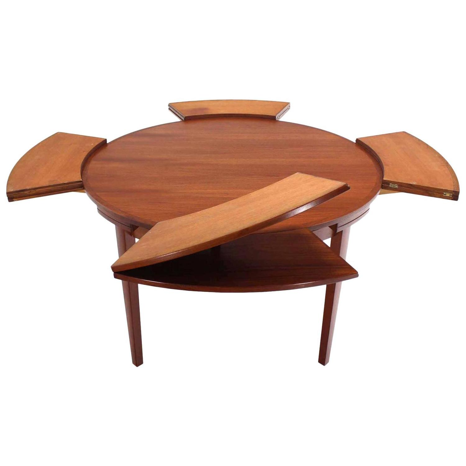 Rare danish modern teak round expandable top dining table for Expandable dining table