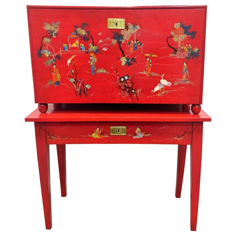 Chinese style inlaid red lacquer fall front chest 20th century for