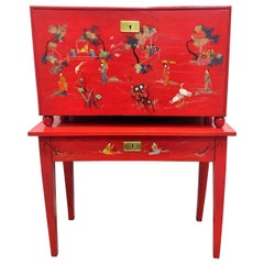 Japanese Style Red Lacquer Fall-Front Chest, 20th Century