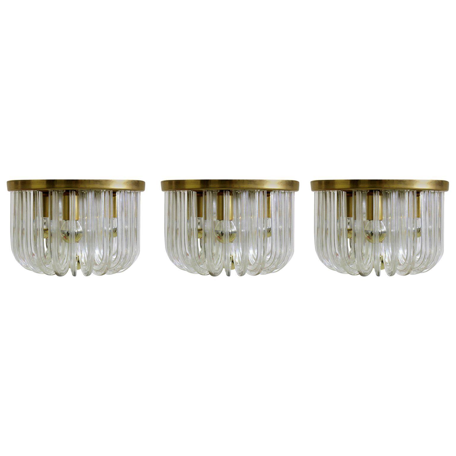 Mid-Century Modern Glass Brass Vintage Flush Mount Cari Zalloni Bakalowits 1960s