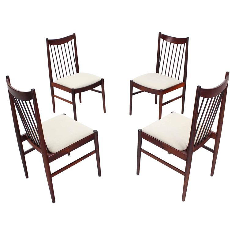 Set Of Four Danish Mid Century Modern Rosewood Spindle Back Dining Chairs